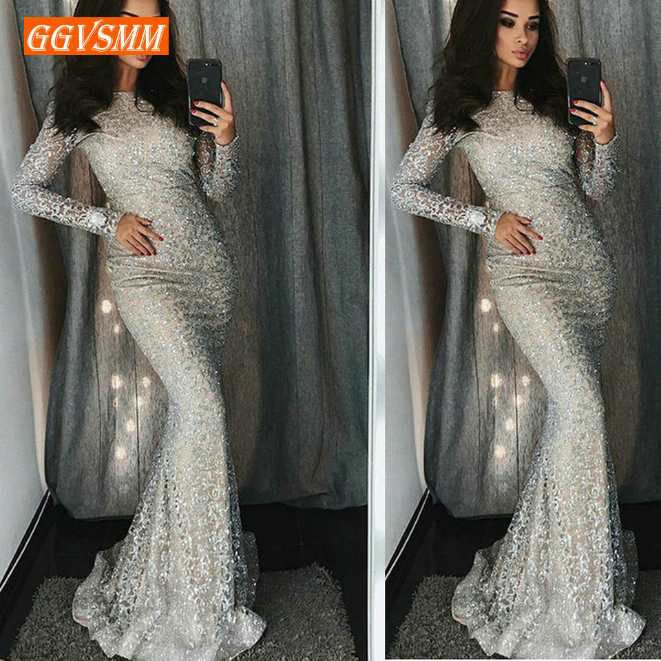 Fashion Lace Mermaid Long   Evening     Dresses   Women Party 2019 Sexy   Evening   Gowns High-Neck Zipper Lady glitter bodycon Club   Dress