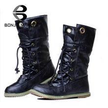 BONJOMARISA Grande taille 34-43 Mode Femmes Bottes Talon Plat Plate-Forme Chaussures Garder Au Chaud De Fourrure Chaussures Femme Mi-veau Neige De Fourrure Bottes