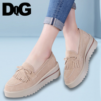 DQG 2018 Smmuer Casual Women Shoes Flat Platform Solid Slip On Zapatos Mujer Fashion Fringe Flats