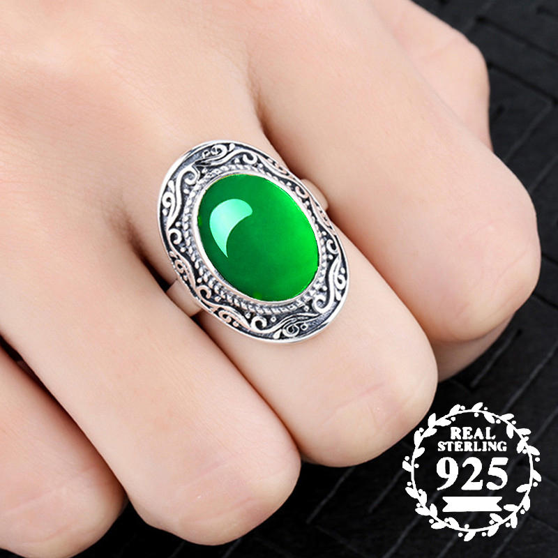10*14mm NOT FAKE S925 Sterling Silver Asia Emerald Rings Jade moldevite upper class lithuania Retro Chalcedony10*14mm NOT FAKE S925 Sterling Silver Asia Emerald Rings Jade moldevite upper class lithuania Retro Chalcedony