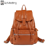 Go Meetting Fashion Genuine Leather Backpack Women Bag Preppy Style Girls School Bags Top Layer Cowhide