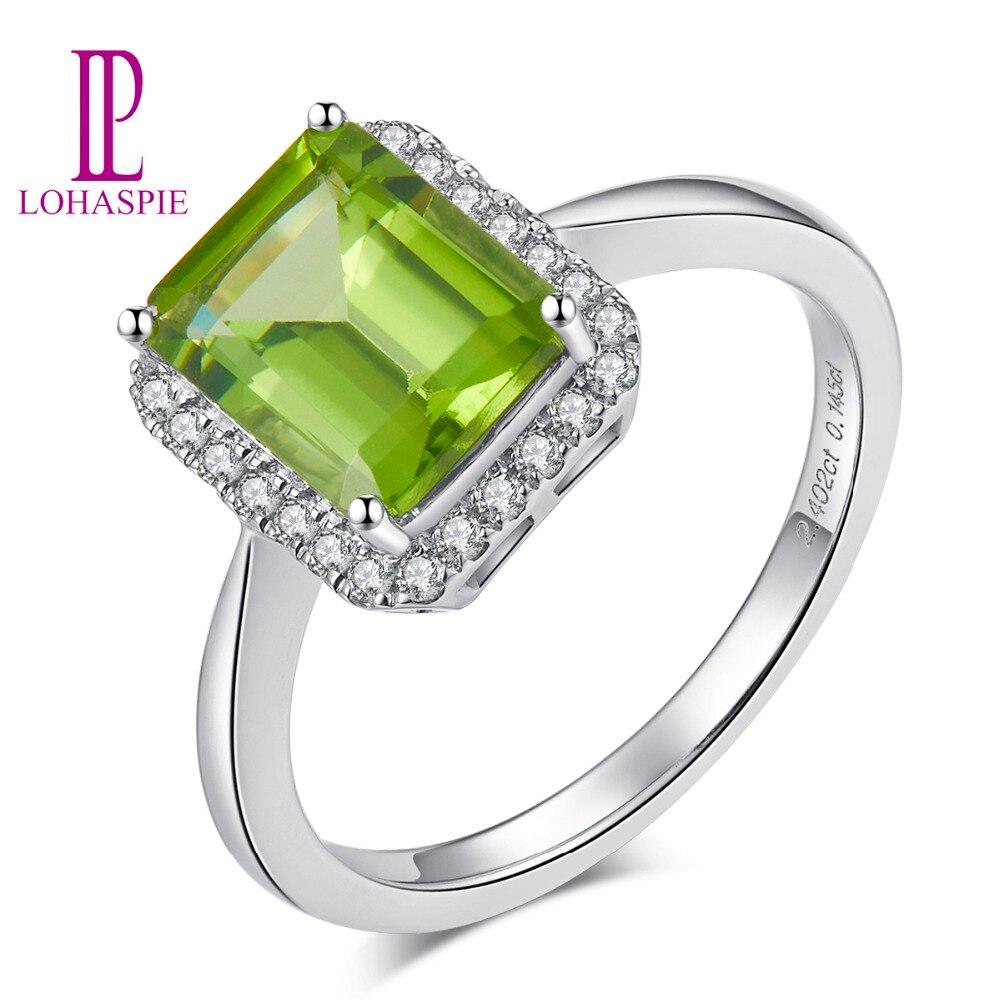 LP diamant bijoux réel 14k or blanc anneaux pour les femmes cadeau pierre naturelle péridot classique bague de fiançailles Fine bijoux