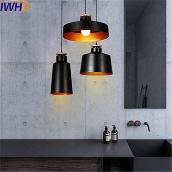 IWHD Nordic Simple Wood  Droplight Modern LED Pendant Light Fixtures For Living Dining Room Hanging Lamp Indoor Lighting