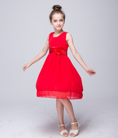 Red Flower Girl Dress Kid Girls First Communion Dresses Lace appliques Wedding Long Princess Costume For Junior Children Clothes