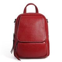 Nesitu Grey Black Blue Black Red Brown Genuine Leather Cute Small Women Backpacks Girl Shoulder Bag