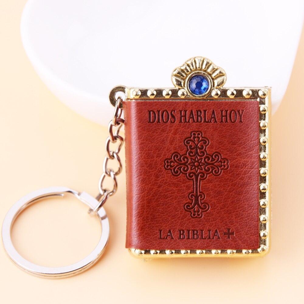 Spanish Mini HOLY Bible Keychain Religious Christian Jesus Cross Key Chain Women Prayer God Bless Gift Souvenirs Keyring