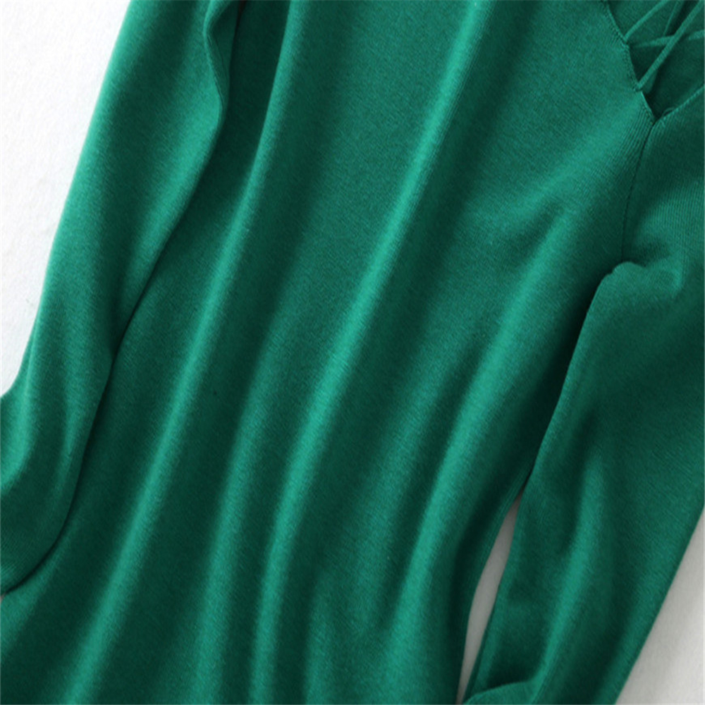 Tunjuefs Sexy Off Shoulder Knitted Sweater Women Jumper Elegant Lace Up Runway Slim Hole Pullovers Turtleneck Top Autumn Winter