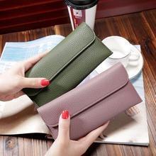 woman long wallet Fashion students thin leather wallet contracted buckles for female wallet bag