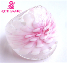 RED SNAKE Fashion Ring Handmade light Pink with flower Translucent Murano Glass Rings
