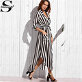 Sheinside Contrast Vertical Striped Notch Lapel Belted Shirt Dress Women Black and White Long Sleeve Maxi Dress