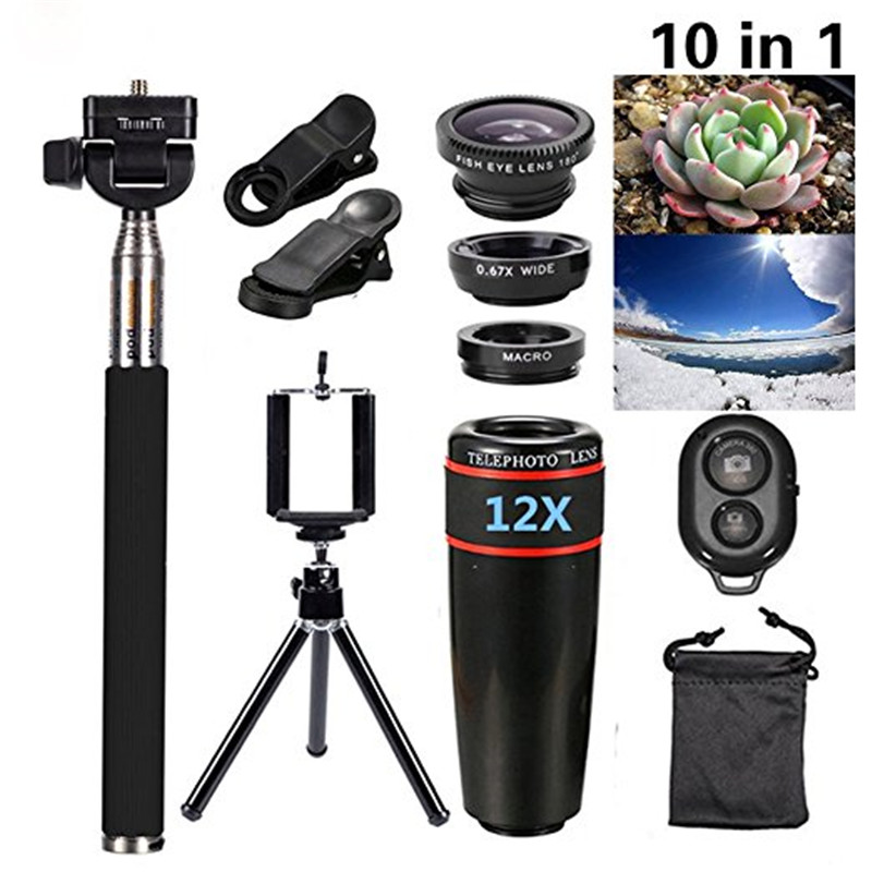 Cell Phone Camera Zoom Lens Kit 12X Telescope Lens Fisheye Wide Angle Macro Lens Universal Clip Tripod for iPhone 6/7/6s Plus/SE|Mobile Phone Lens|Cellphones & Telecommunications - title=