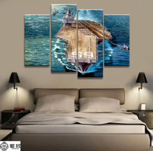 Home Decor Modular Canvas Picture 4 Piece Military USS Enterprise CVN-65 Painting Poster Wall For Wholesale