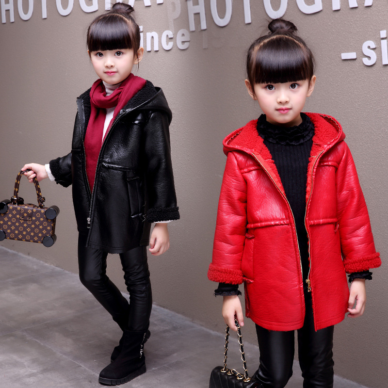2018 Winter New Kids Fashion Hooded Outerwear coat Children's PU fur coat with velvet teenager warm fleece Fluffy Outerwear coat pu leather closure color block hooded coat