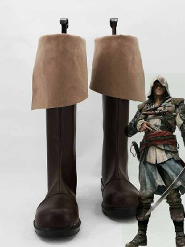 Galleria fotografica <font><b>Assassins</b></font> <font><b>Creed</b></font> 4 <font><b>Black</b></font> <font><b>Flag</b></font> Connor Kenway Cosplay Boots Men Cosplay Costume Party Shoes Custom Made Boots