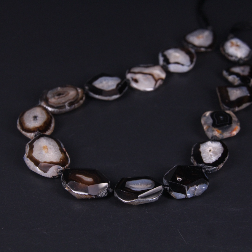 Natural Geode Agate Druzy Slab Beads,Big Size Faceted Free Form Silce Black Agate Slab Jewelry Wholesale