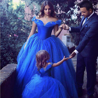 Girl stage performance costumes family matching prom dress blue ball gowns v neck mom daughter 2018 summer sleeveless Bridesmaid