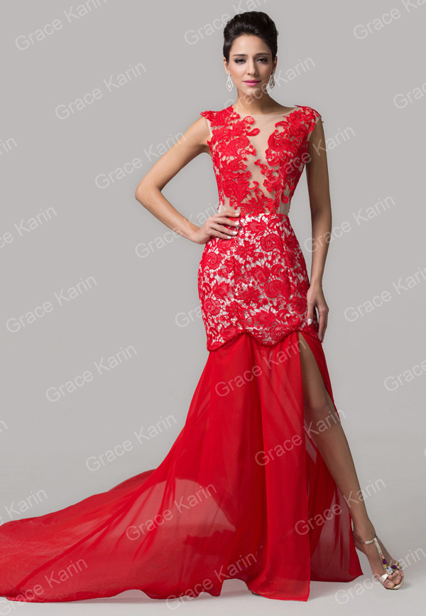 4607bfcb1f Amazing Slit Design Red Lace Applique Mermaid Prom Dresses Women ...