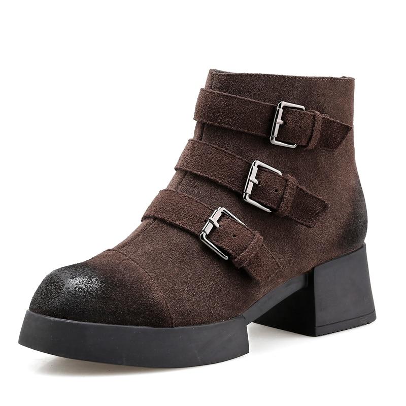 De Tacón Furtado Ronda Matin Grueso Es Invierno 2019 Hebilla Cremallera Mujer Tobillo Black Botas 5 Nuevos Cm Zapatos Toe Correa Arden brown Otoño 0IwIq