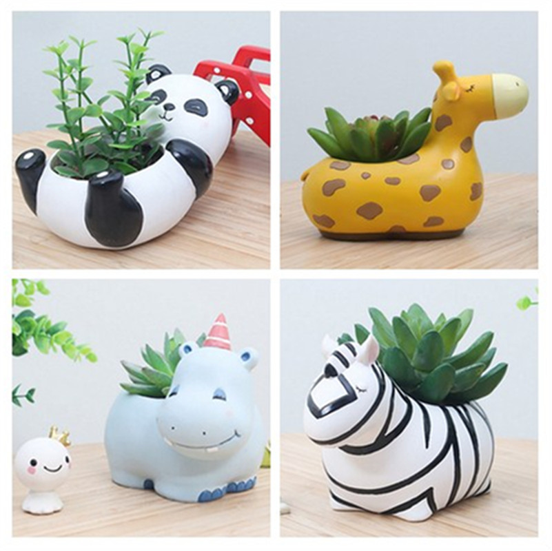 Planta suculenta pote bonito animal flor plantador vaso de flores criar design adorável pequenos animais casa jardim bonsai potes
