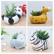 Горшок с сочными растениями Симпатичные животные Цветочные горшки Цветочный горшок Создайте дизайн