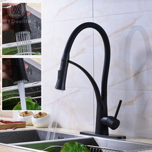 Лучшее качество ванной смеситель для кухни Одной ручкой одно отверстие двойной сопла распылителя горячей и холодной кухонной мойки краны