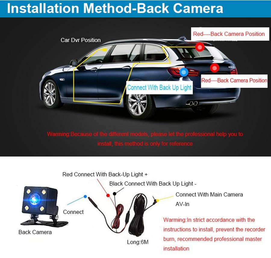 E-ACE Car DVR 3 Cameras Lens 4.0 Inch Dash Camera