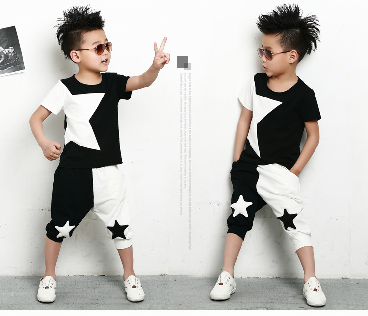 Men's Clothing ... Men's Sets ... 32659261184 ... 2 ... kids  suits twinset spring summer clothing set Boys Costume Black White patchwork star T-shirt & dance Hip Hop harem pants ...