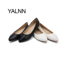 New Women Flats Shoes Leather Platform Heels Shoe White Women Pointed Toe Leather Girl Shoes