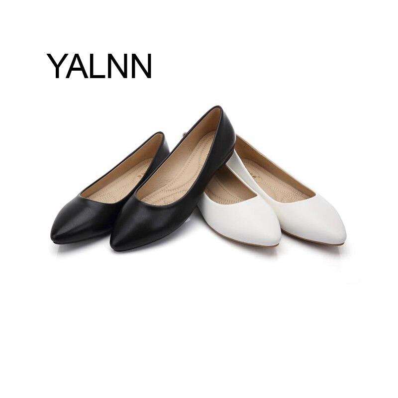 YALNN Nuevas Mujeres de Los Planos Zapatos de Cuero Plataforma 1 cm Tacones Zapa
