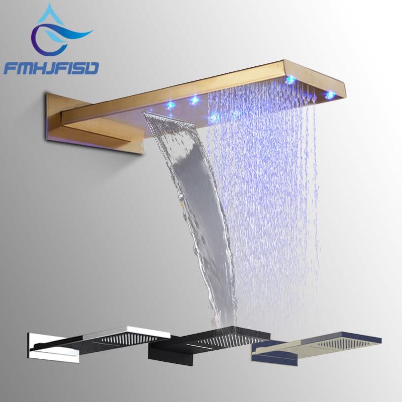 Gold Shower Head Big Rainfall Waterfall LED Shower Head Black LED Bath Shower Faucet Bathroom Square