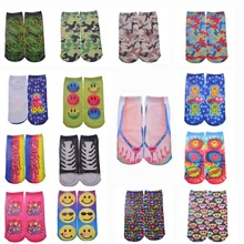 1pair Funny Socks Interesting 3D Printing Camouflage Expression Socks Cotton Socks