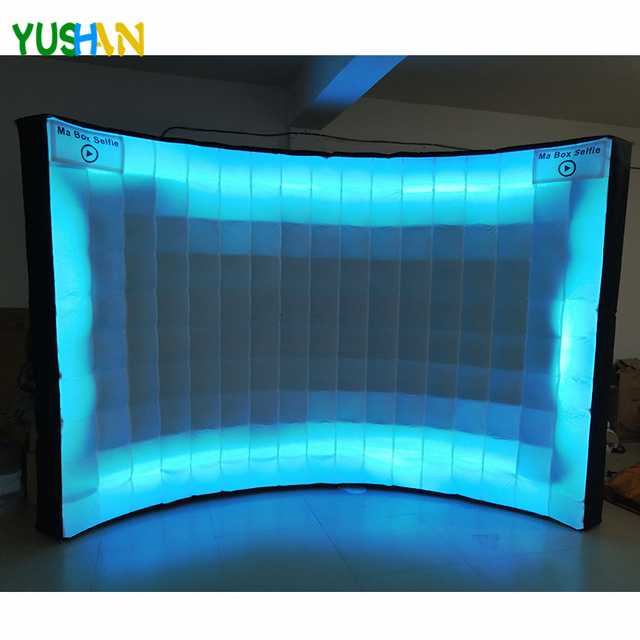 3m LED strips all around Brightly Inflatable Wall Backdrop with Inner air blower and Customized Logo  Photo booth wall for Party