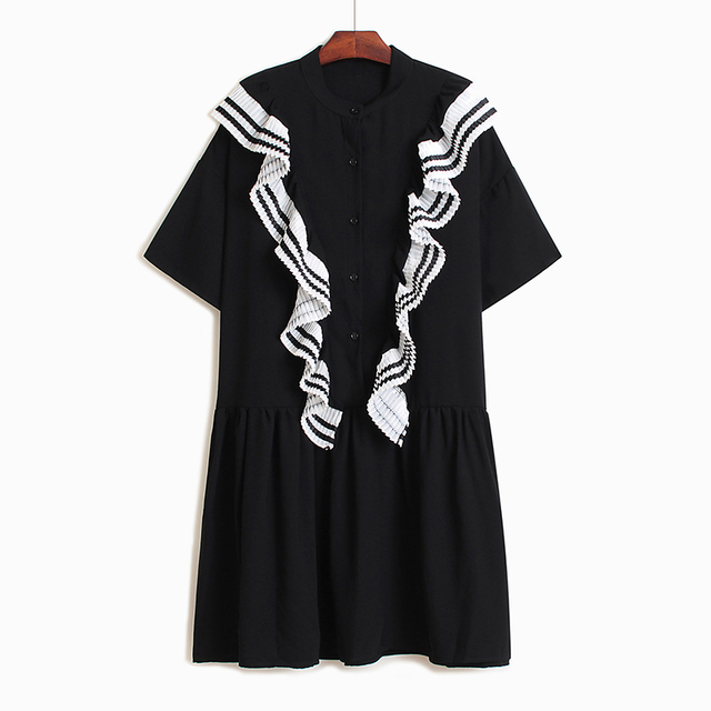 Spring Summer Round Neck Short Sleeve Black Ruffles Split Joint Striped Loose Big Size Dress Women Ju473
