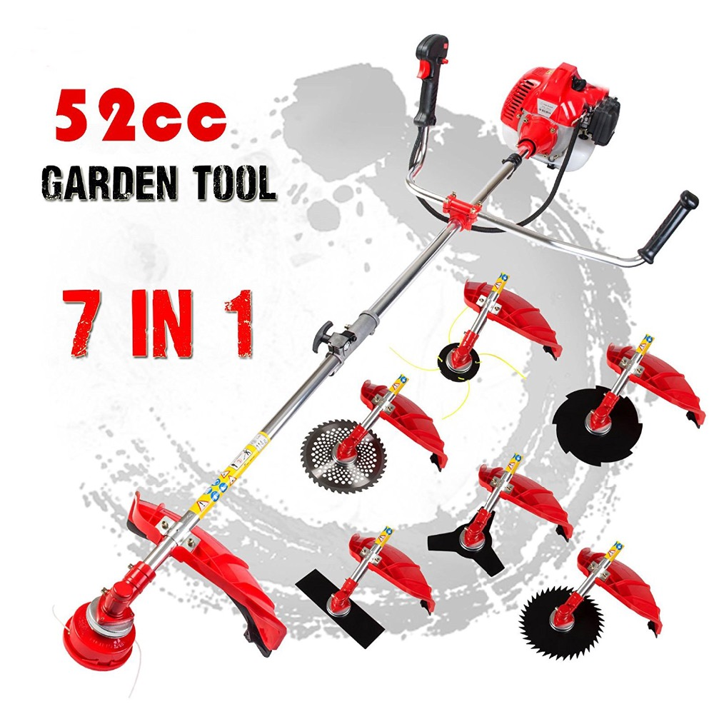 52cc Pole Chainsaw 7 in 1 Brush Cutter Whipper Snipper Hedge Trimmer Garden Multi Tool