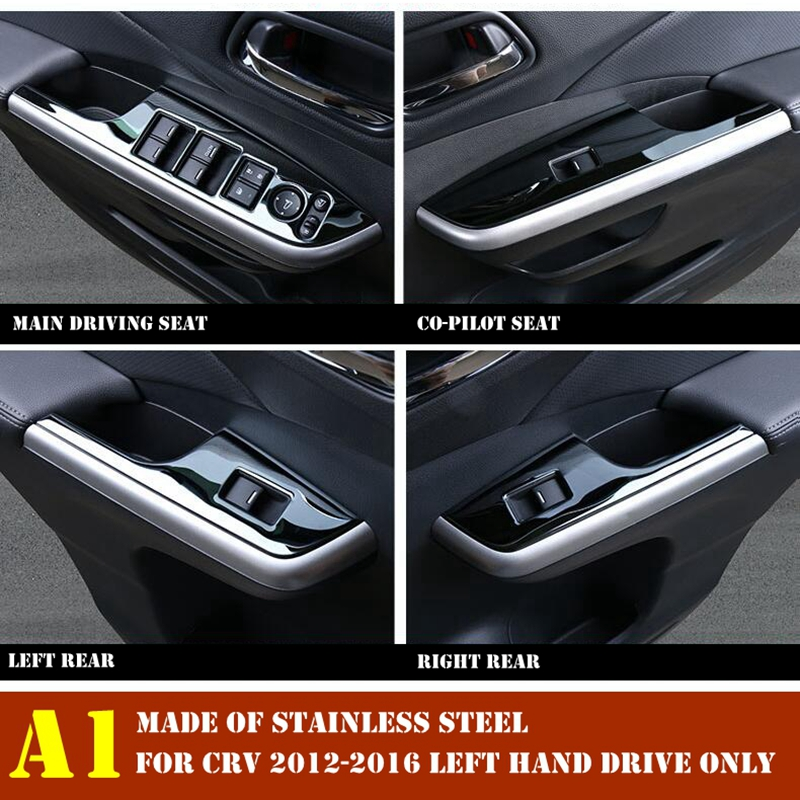 Image 2 - Interior For Honda CRV CR V 2012 2013 2014 2015 2016 Door Handle Holder Window Lift Button Switch Decoration Panel Cover Trim-in Interior Mouldings from Automobiles & Motorcycles