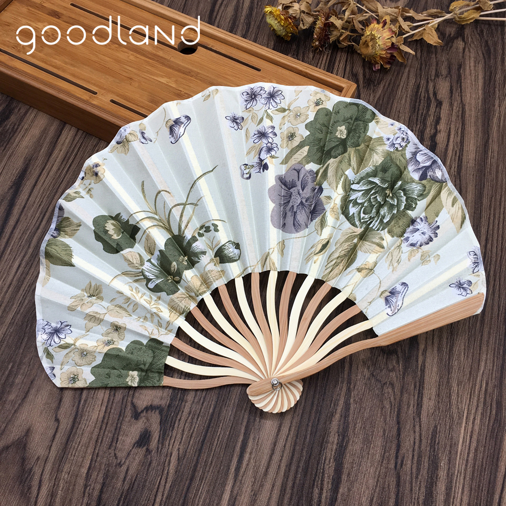 Free Shipping 1pcs Folding Hand Held Fan Fabric Floral Pocket Fan Wedding Dance Favor Wedding Accessories Decoration