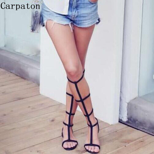 10d5822e6bdc Women Black T-tied Strap Sandals Boots Sexy Open Toe Ankle Buckle Flat Sandals  Knee High Narrow Band Ladies Gladiator Sandals