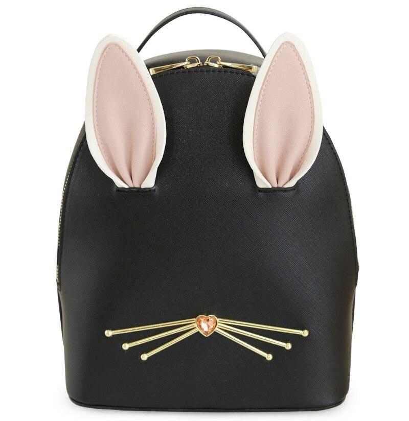 ENSSO 2017 New Arrival Black Japan Style Animal Prints 3D Rabbit Ear Diamond PU Leather Girl's Book Bag Backpack Shoulder Bags карабин black diamond black diamond rocklock twistlock