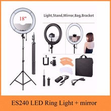 ES240 18″ 5500K Dimmable LED Adjustable Ring Light with Diffuser + light stand tripod and mirror as RL-18 led ring light