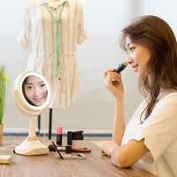 5x Ingrandimento Specchio Per Il Trucco Cosmetico di Figura Rotonda 2 Lati di Rotazione Lente di Ingrandimento Specchio LED di musica di bluetooth multi-funzione di specchio