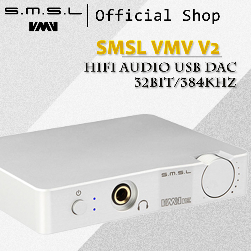 SMSL V2 Mini Headphone Amplifier 32Bit/384KHz HiFi Amplifier USB DAC Decoder CM6631A ES9023 USB Input RCA 6.35mm Jack Output cozoy rei mini dac headphone amplifier dsd256 32bit 384khz