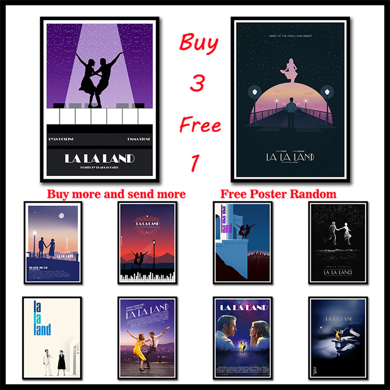 La Land Coated paper Movie Poster Wall Stickers Bar Cafe Home Decor Art Frameless