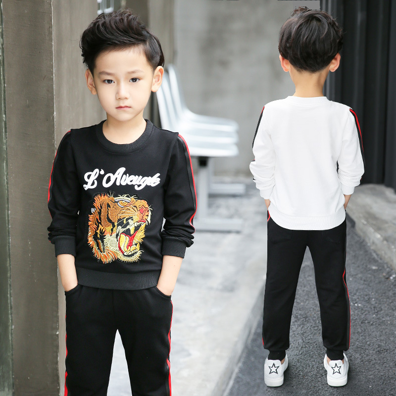 Good Quality Handsome Boy Tiger Print Pullover Teenager Kids Boys Cool Top+Pant Two-Piece Sport Suit For Boys Tracksuit Children