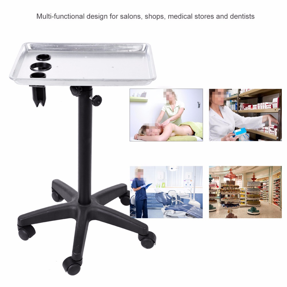 Aluminium Hair Salon Instrument Tray Adjustable Height Trolley Dental Lab Beauty Tattoo Nail Tray Silver for Hairdressing Style ship from usa portable height adjustable shampoo basin hair bowl salon treatment tool