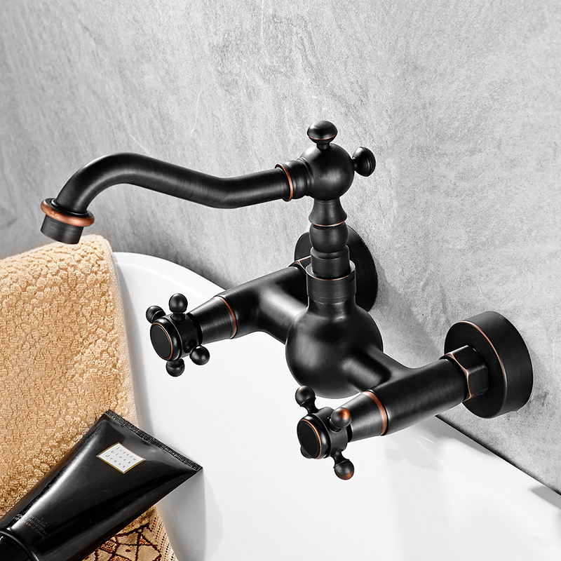 European Style American Black In Wall Faucet Solid Brass Balck Copper Antique Faucet Wash Basin Hot And Cold Double Hole pastoralism and agriculture pennar basin india