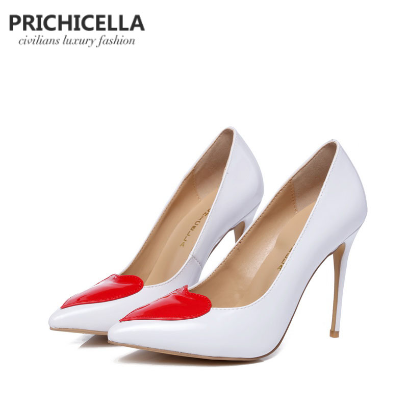 PRICHICELLA white genuine leather thin high heel shoes with red heart women dress party wedding shoe
