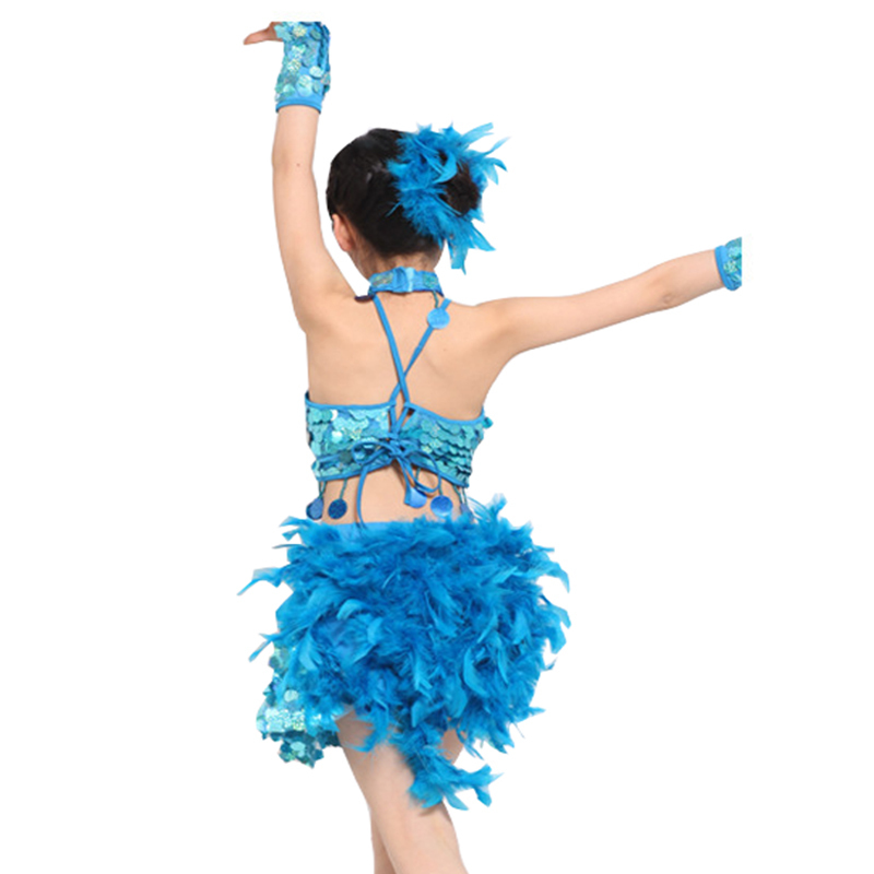 fdc3ac865 Songyuexia Children New Feather Dance Costumes Sequin Latin Dress Children  For Kids Girl TOP Skirt stage Dance Costumes -in Latin from Novelty &  Special Use ...