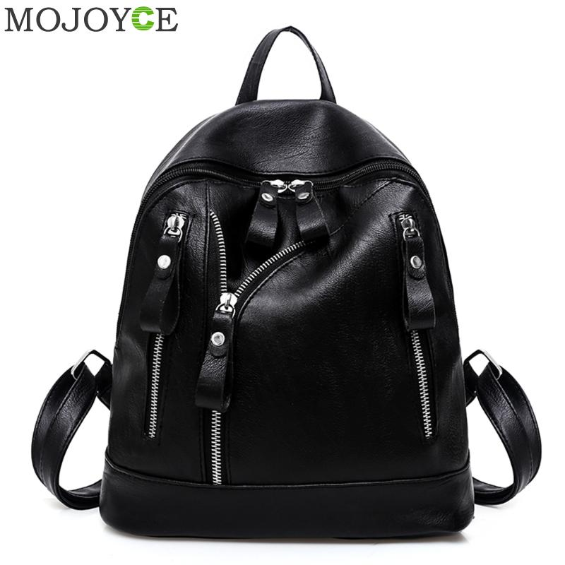 Women PU Leather Backpack Fashion Black Zipper Backpacks Casual Ladies Teenager Girl School Bags Travel Backpack Female Rucksack