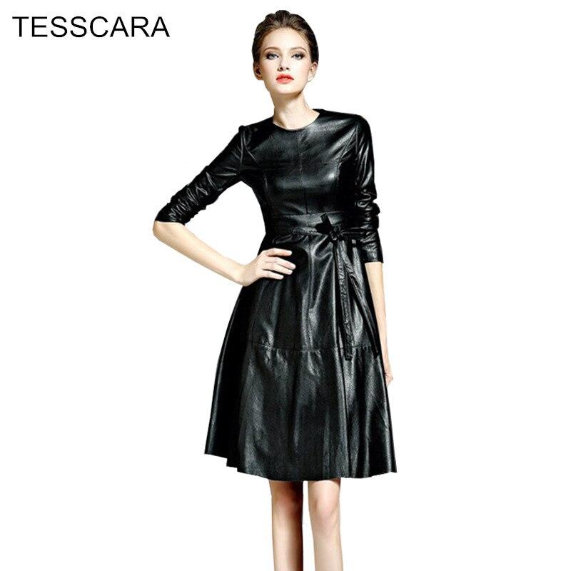 women autumn winter vintage leather dress female elegant work wear vestidos robe femme fashion. Black Bedroom Furniture Sets. Home Design Ideas