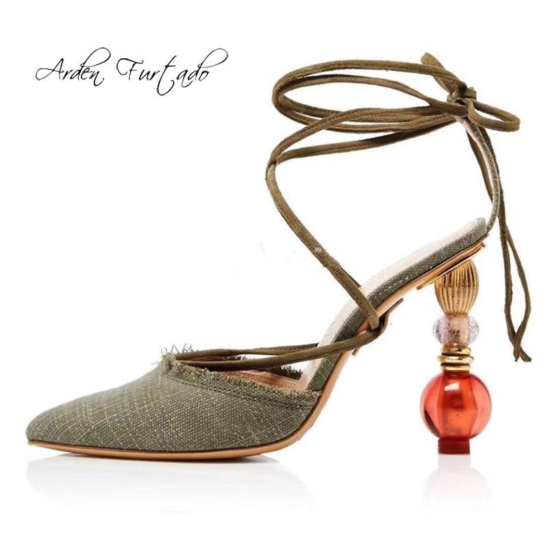 Ayakk.'ten Yüksek Topuklular'de Arden Furtado yaz 2019 moda kadın ayakkabısı özel şekilli topuklu sivri burun ayakkabı iken zarif ayak bileği askı sandalet'da  Grup 1